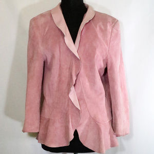 SPIEGEL Pink Leather Ruffle Collar Jacket